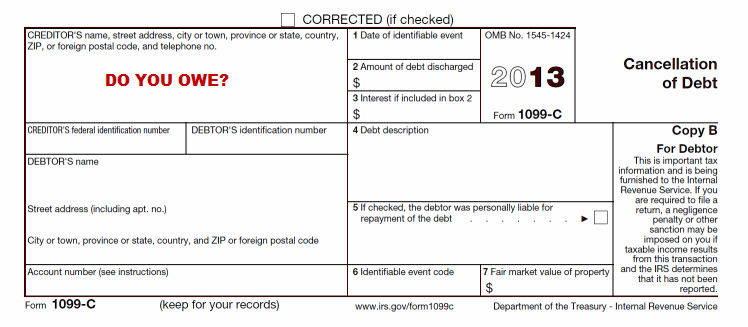 1099-C Form - Sample 1099C Cancellation of Debt Form